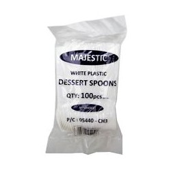 White Plastic Desserts spoons - pack of 100