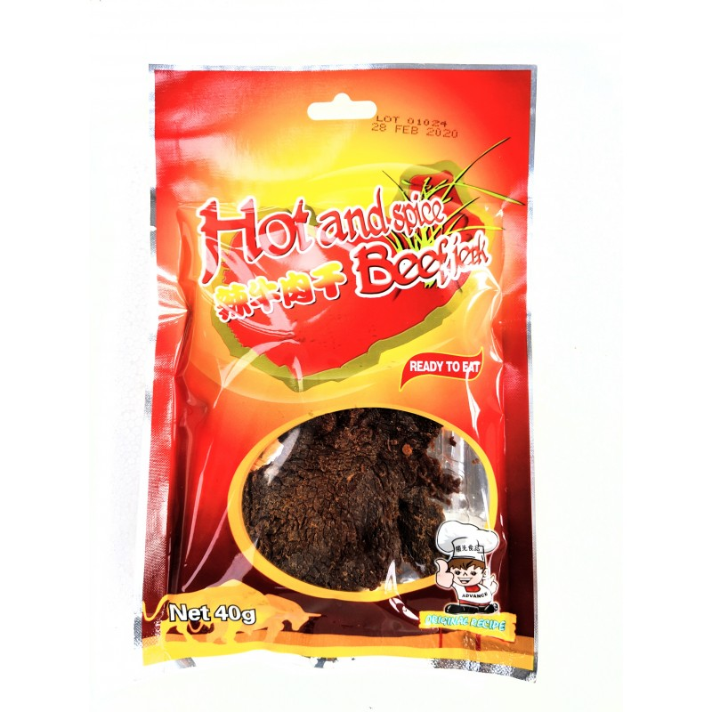 advance foods hot and spicy 100g dry cooked beef jerky