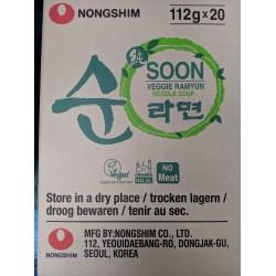 Nong Shim Noodles Box 112g x 20 Soon Veggie Ramyun (농심 순라면) No MSG Korean Noodle Soup Box