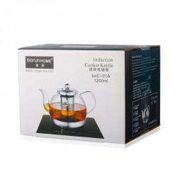 Borun Home Heat Resistant Glass Leaf Strainer 1.1l Teapot
