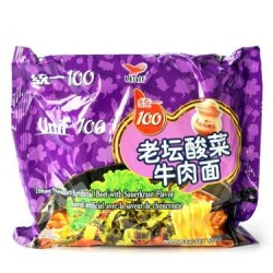 Unif 100 Noodles - Instant Noodles (统一100老坛酸菜牛肉面) Chinese Beef With Sauekraut Flavor Noodles