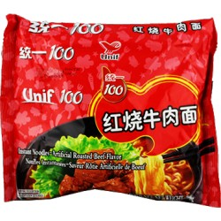 Unif 100 Noodles - Instant Noodles (统一100红椒牛肉面) Chinese Spicy Beef Flavor Noodles