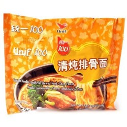 Unif 100 Noodles Box 24x105g Instant Noodles (统一100清炖排骨面) Chinese Stewed Pork Chop Flavor Noodles