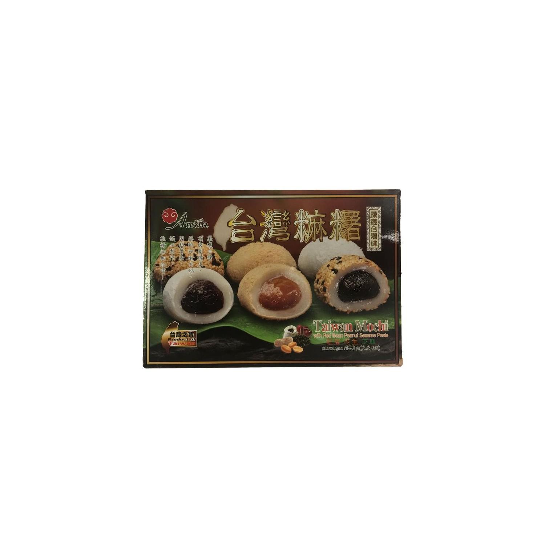 Sunwave Japanese Style Mochi Mo chi Mixed 180g 6pcs, Red Bean, Peanut, Sesame