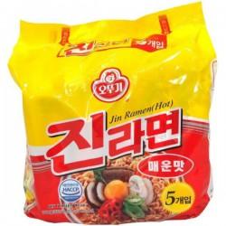 Ottogi Noodles - 5X120g Jin Ramyon (Spicy) Korean Noodles