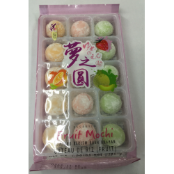 Love Flower Taiwanese Mochi Assorted Fruit Mochi 195g 15pcs Strawberry, Orange and Melon Mochi