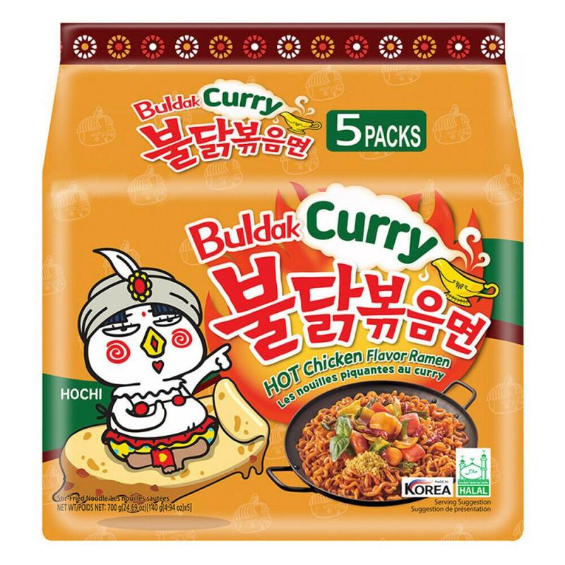 Samyang Curry Hot Chicken Stir Ramen Noodle Soup Pack of 5x140g Korean Curry Ramen Noodles New Packaging
