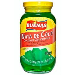 Buenas Nata De Coco Coconut Gel in Syrup 340g Green Nata...