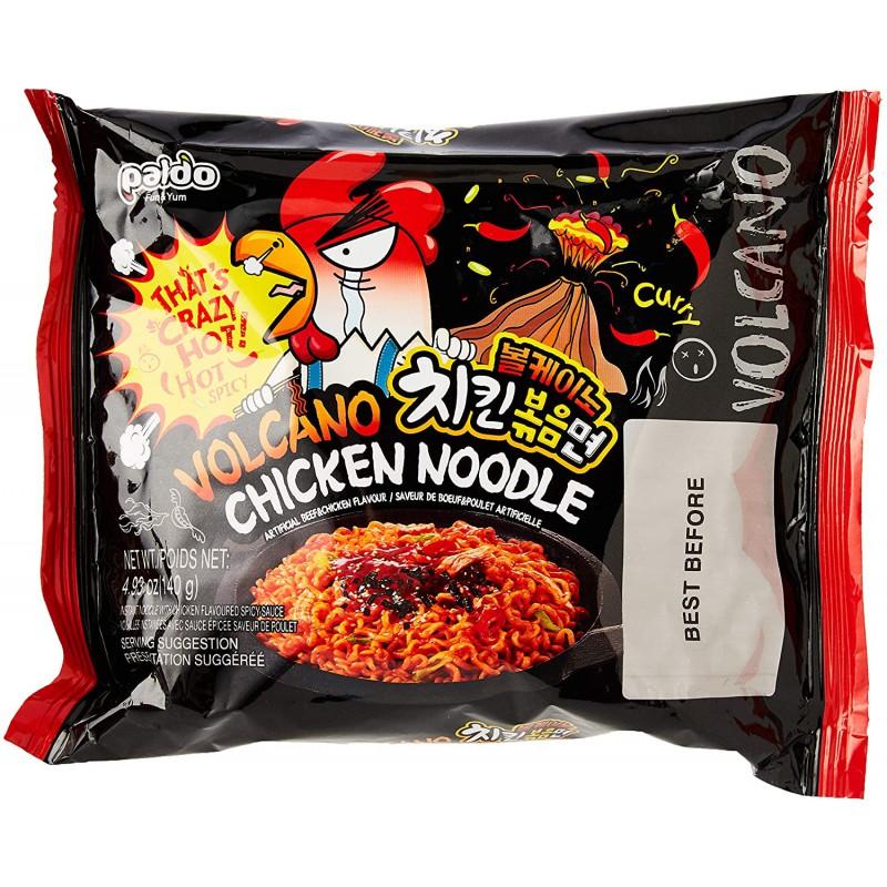 Full Case of 4x Paldo Volcano Chicken Noodle 140g x 4 Beef & Chicken Flavour Korean Noodles