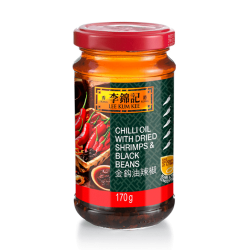 Lee Kum Kee Chilli Oil With Dried Shrimps & Black Beans 170gLee Kum Kee Chilli Oil With Dried Shrimps & Black Beans 170g