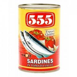 555 Sardines In Hot Tomato Sauce 155g
