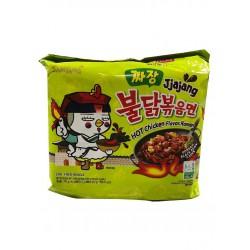 Samyang Noodles Hot Chicken 5x140g Jjajang Black Bean Sauce Ramen 5 Pack Instant Noodle
