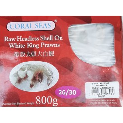 Coral Seas White King Prawns 800g 26/30 Raw Headless...