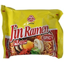 Ottogi Noodles - 120g Jin Ramyon (Spicy) Korean Noodles